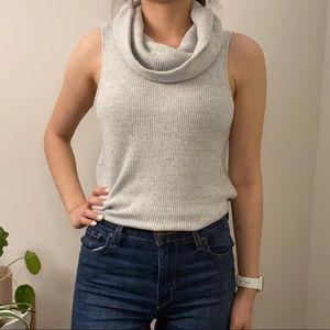 Anthropologie Grey Sleeveless Turtleneck Knit Top